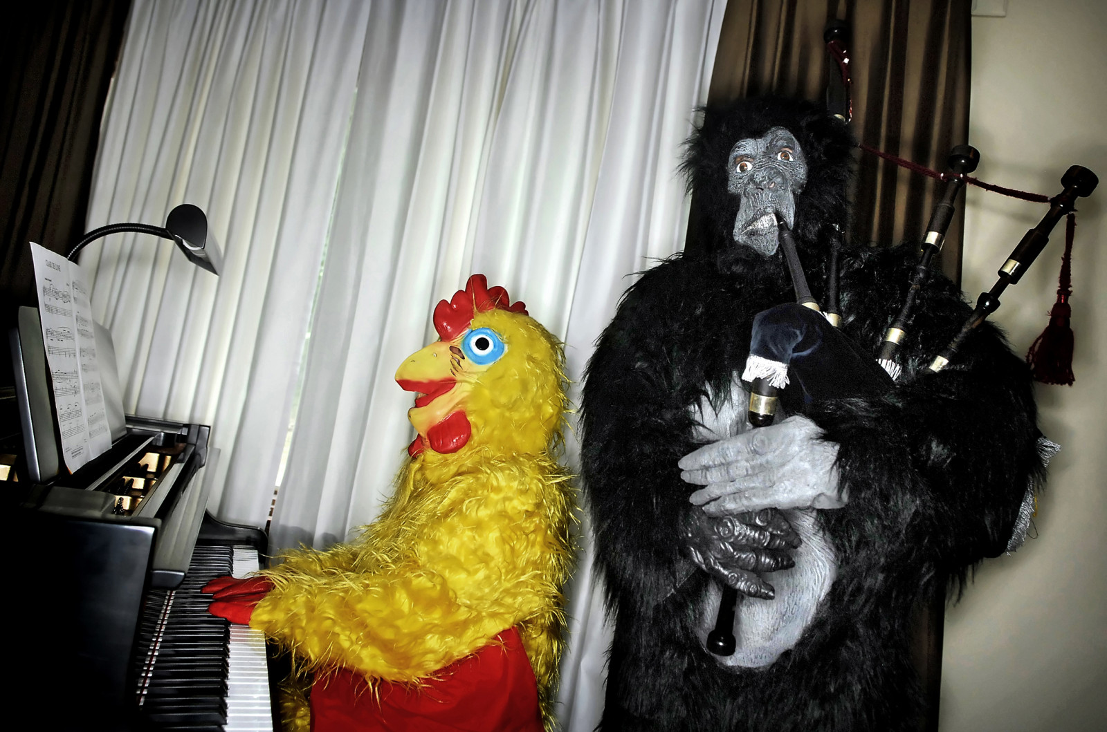 "Cara McMillan, left, and her husband Del, both active musicians, have grown tired of their chicken and gorilla suits. They hope to sell the costumes. ""We've had some good times with them,"" said Del. The couple, who have been married for 10 years and met while both were singers in their church's choir, found new costumes to continue their yearly traditions. Cara invested in a Dr. Seuss suit, and she recently bought Del a new Viking suit. ""We wanted something new,"" she says."